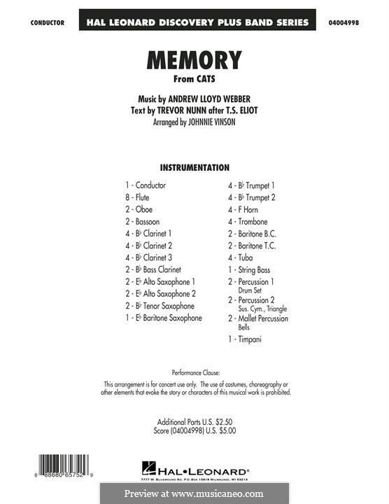 Memory (from Cats): Conductor score (full score) by Andrew Lloyd Webber