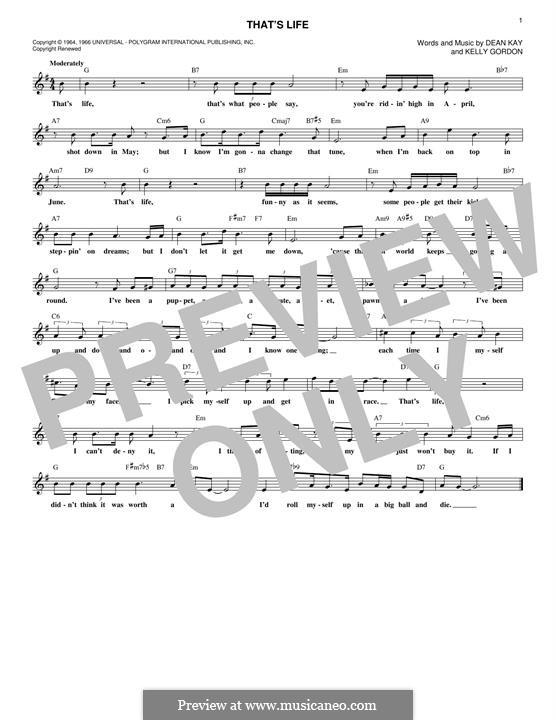 That's Life (Frank Sinatra): Мелодия by Dean Kay, Kelly Gordon