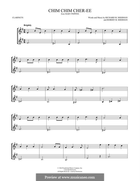 Chim Chim Cher-ee (from Mary Poppins): For two clarinets by Richard M. Sherman, Robert B. Sherman