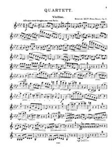 Фортепианный квартет фа минор, Op.6: Партия скрипки by Prinz Heinrich Reuss