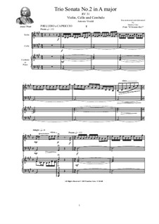 Trio Sonata No.2 in A major for Violin, Cello and Cembalo (or Piano), RV 31 Op.2: Trio Sonata No.2 in A major for Violin, Cello and Cembalo (or Piano) by Антонио Вивальди