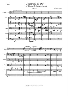Концертино для кларнета с оркестром, J.109 Op.26: Score and parts by Карл Мария фон Вебер