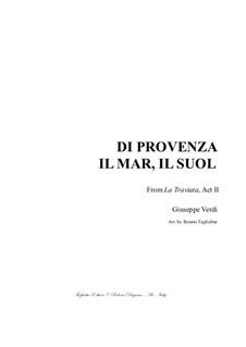 Di provenza il mar: For baritone and piano by Джузеппе Верди