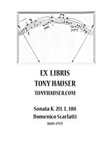 Соната No.108 ре минор, K.213 L.108 P.288: Для гитары by Доменико Скарлатти