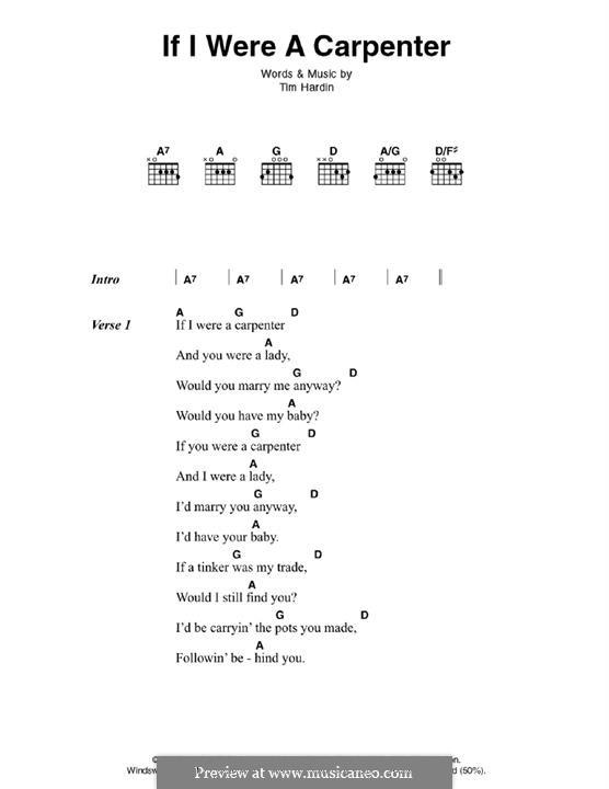 If I Were a Carpenter: Текст, аккорды by Tim Hardin