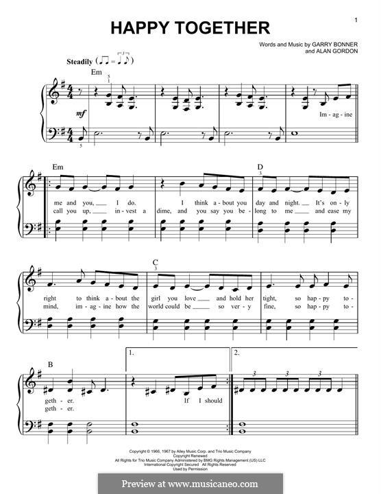 Happy Together (The Turtles): Для фортепиано by Alan Gordon, Garry Bonner