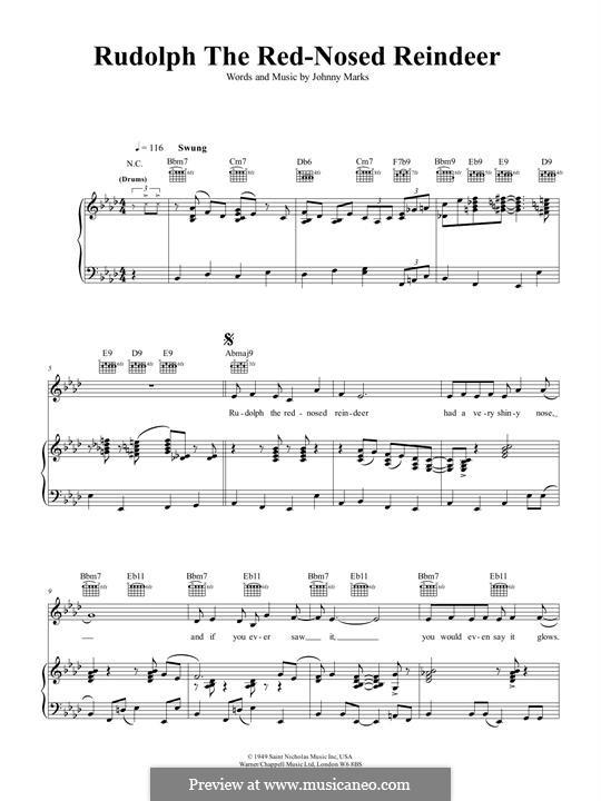 Rudolph the Red-Nosed Reindeer: Для голоса и фортепиано или гитары (Ella Fitzgerald) by Johnny Marks