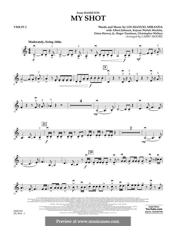 My Shot (from 'Hamilton'): Violin 2 part by Albert Johnson, Christopher Wallace, Kejuan Muchita, Lin-Manuel Miranda, Osten Harvey, Roger Troutman