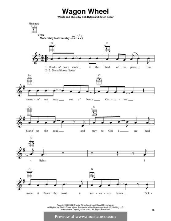 Wagon Wheel (Old Crow Medicine Show): For banjo by Bob Dylan, Ketch Secor