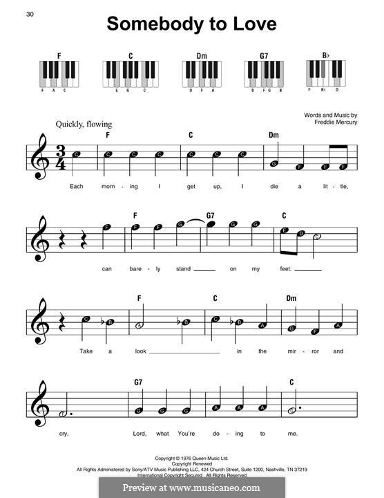 Somebody to Love (Queen): Для фортепиано by Freddie Mercury
