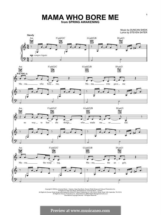 Mama Who Bore Me: Для голоса и фортепиано (или гитары) by Duncan Sheik