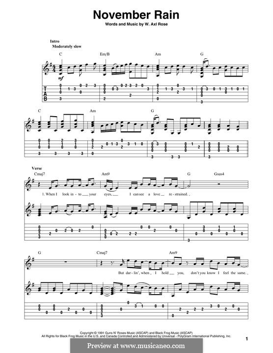 November Rain (Guns N' Roses): Для гитары by W. Axl Rose