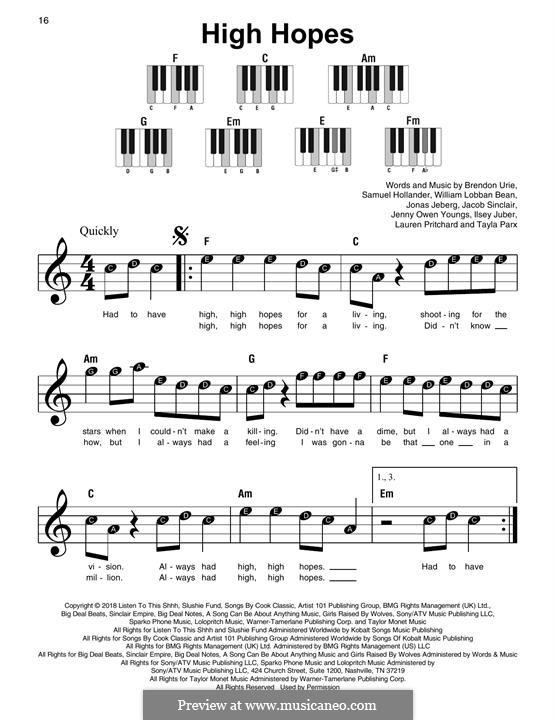 High Hopes (Panic! At The Disco): Для фортепиано by Brendon Urie, Jonas Jeberg, Sam Hollander, Jacob Sinclair, William Lobban-Bean