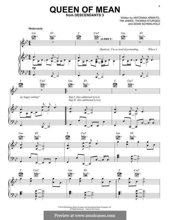 Queen of Mean (from Disney's Descendants 3): Для голоса и фортепиано (или гитары) by Adam Schmalholz, Antonina Armato, Thomas Armato Sturges, Timothy James