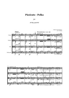 Pizzicato Polka: For string quartet - score and parts by Иоганн Штраус (младший)