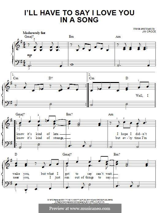 I'll Have to Say I Love You in a Song: Для фортепиано by Jim Croce