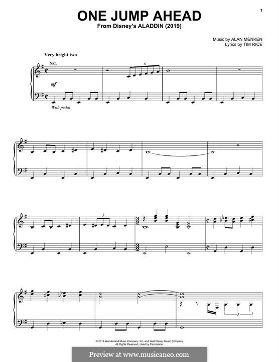One Jump Ahead (from Disney's Aladdin): Для голоса и фортепиано (или гитары) by Alan Menken