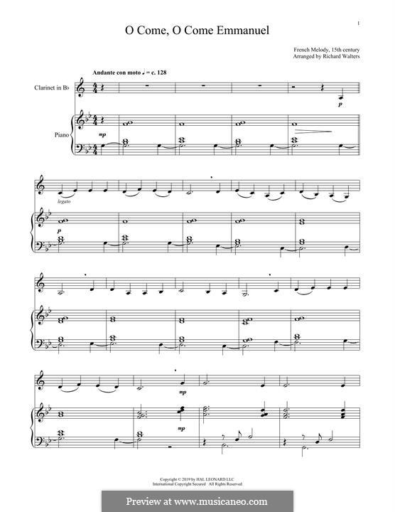 O Come, O Come, Emmanuel: Для кларнета и фортепиано by folklore
