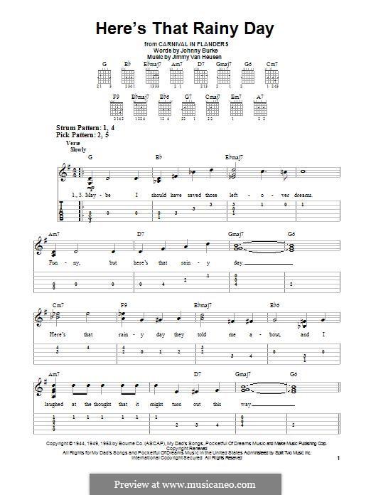 Here's That Rainy Day (Dionne Warwick): Для гитары by Jimmy Van Heusen