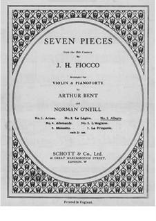 Сюита No.1: Аллегро, для скрипки и фортепиано – Партия скрипки by Жозеф-Эктор Фьокко