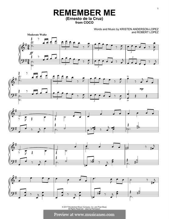 Remember Me from 'Coco' (Ernesto de la Cruz): Для фортепиано (легкий уровень) by Robert Lopez, Kristen Anderson-Lopez