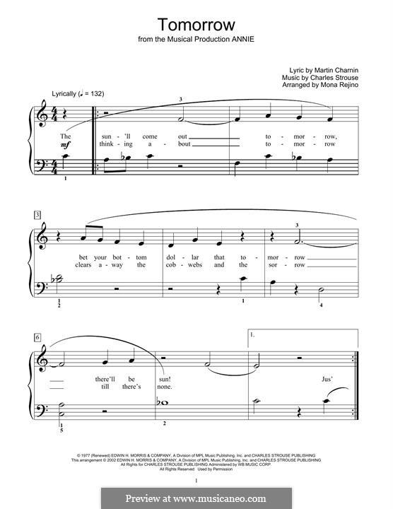 Tomorrow (from Annie): Для фортепиано (легкий уровень) by Charles Strouse