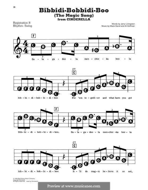 Bibbidi-Bobbidi-Boo (The Magic Song): Для фортепиано (легкий уровень) by Al Hoffman, Mack David