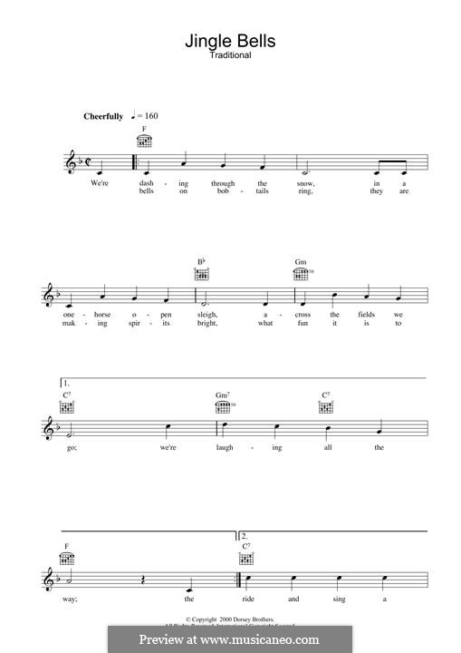 Jingle Bells (Printable scores): Мелодия by James Lord Pierpont