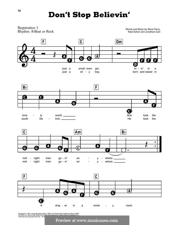 Don't Stop Believin': For easy piano (Journey) by Jonathan Cain, Neal Schon, Steve Perry