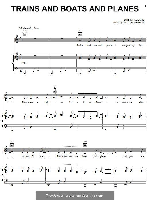 Trains and Boats and Planes: Для голоса и фортепиано (или гитары) by Burt Bacharach