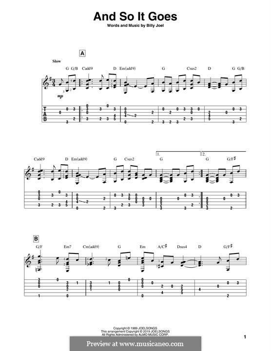 And So It Goes: Гитарная табулатура by Billy Joel