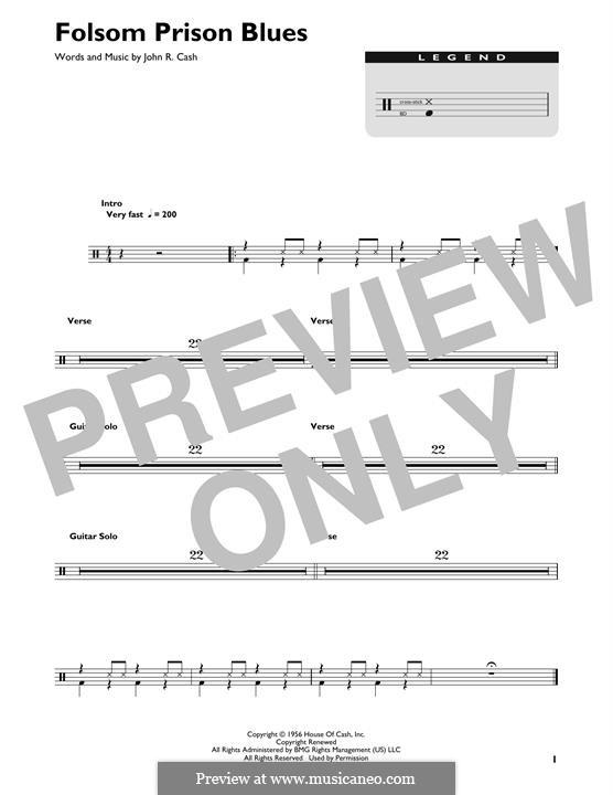 Folsom Prison Blues: Drum set by Johnny Cash