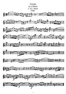 Соната для флейты и клавесина ля минор, H 555 Wq 128: Сольная партия by Карл Филипп Эммануил Бах