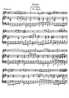 Соната для флейты и клавесина ре мажор, H 561 Wq 131: Партитура, сольная партия by Карл Филипп Эммануил Бах
