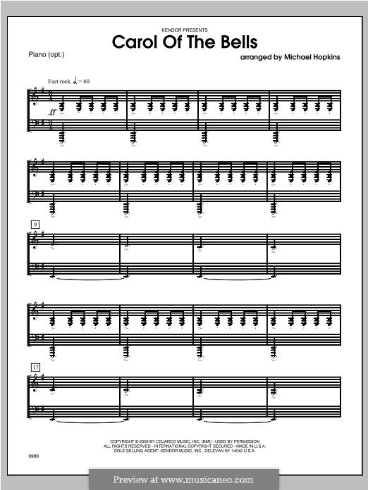 Carol of the Bells: Piano part (Michael Hopkins) by Mykola Leontovych