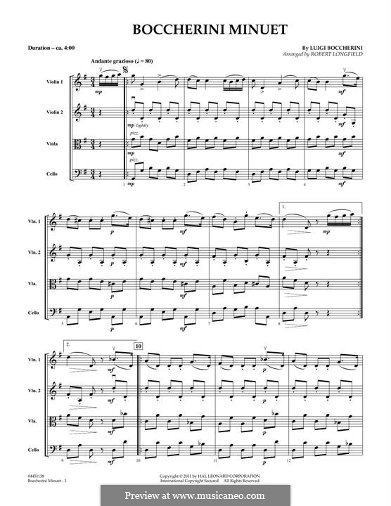 Струнный квинтет No.5 ми мажор, G.275 Op.107: Minuet, full score by Луиджи Боккерини
