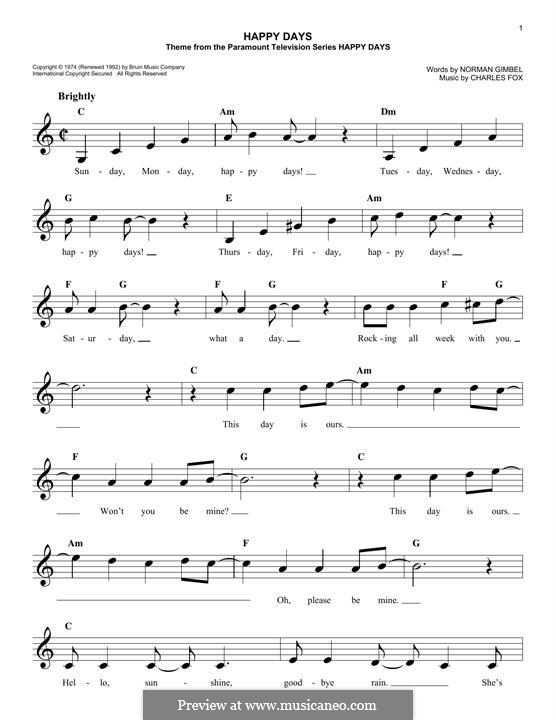 Happy Days: Мелодия by Charles Fox