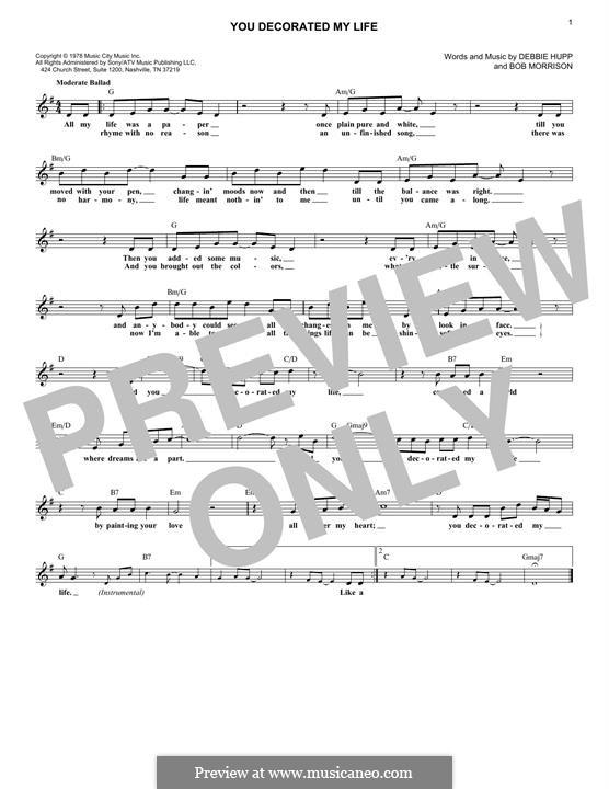You Decorated My Life (Kenny Rogers): Мелодия by Bob Morrison, Debbie Hupp