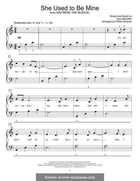 She Used To Be Mine: Для фортепиано by Sara Bareilles