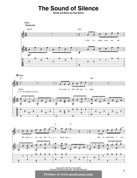 The Sound of Silence (Simon & Garfunkel): Для голоса и фортепиано (или гитары) by Paul Simon