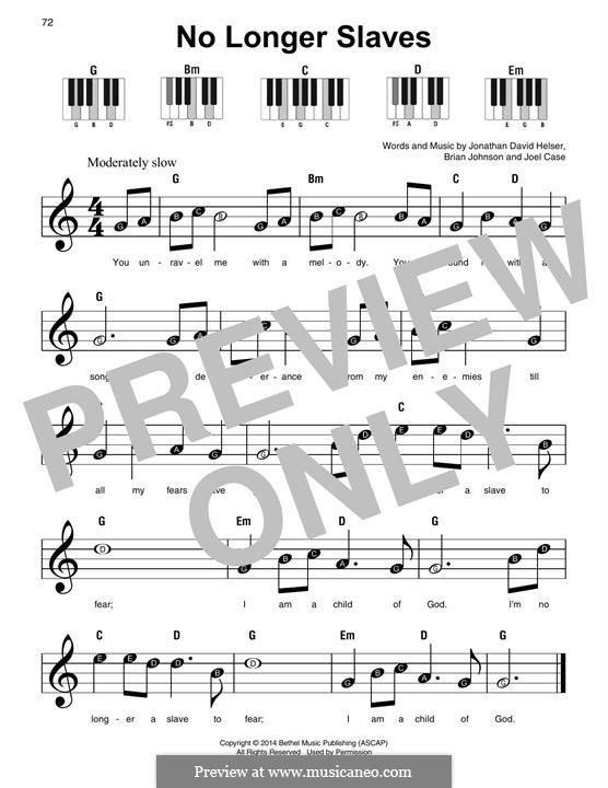 No Longer Slaves (Bethel Music): Для фортепиано by Brian Johnson, Joel Case, Jonathan David Helser