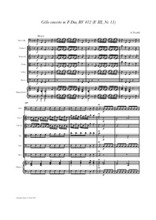 Concerto for Cello and Strings in F Major, RV 412: Score and all parts by Антонио Вивальди