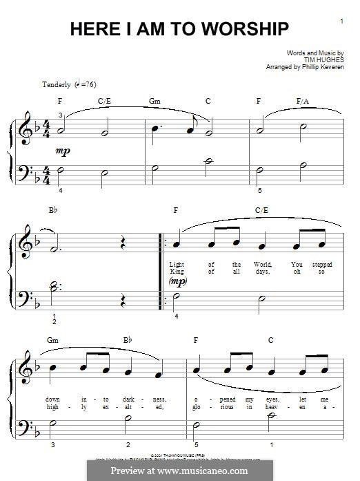 Here I am to Worship (Phillips, Craig & Dean): Для фортепиано by Tim Hughes