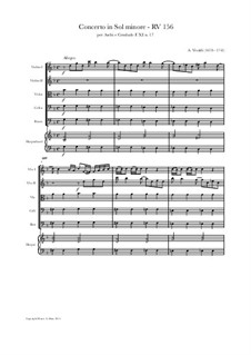 Concerto for Strings in G Minor, RV 156: Score and parts by Антонио Вивальди