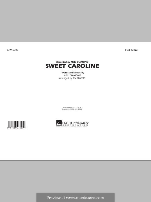 Sweet Caroline: Full score (arr. Tim Waters) by Neil Diamond