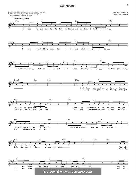 Wonderwall (Oasis): Мелодия by Noel Gallagher