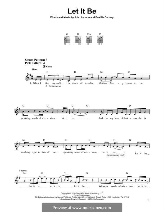 Let it Be (The Beatles): Гитарная табулатура by John Lennon, Paul McCartney