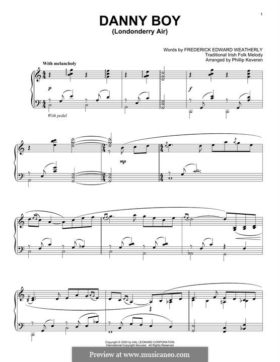 Danny Boy (Londonderry Air) Printable Scores: Для фортепиано (легкий уровень) by folklore