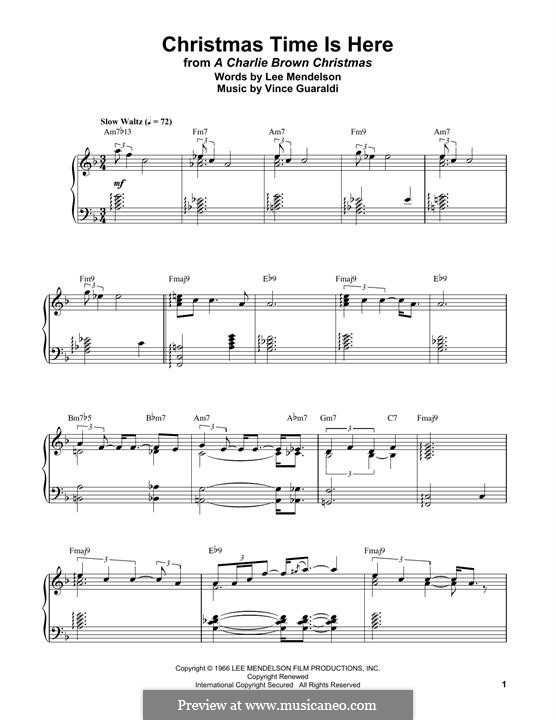 Christmas Time is Here (from A Charlie Brown Christmas), for Piano: Easy version by Vince Guaraldi