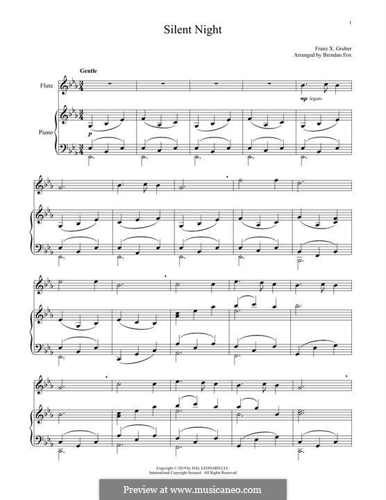 Тихая ночь, дивная ночь, для двух инструментов: Для флейты и фортепиано by Франц Ксавьер Грубер